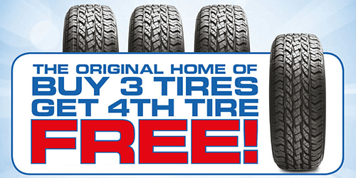 Buy 3 Tires, Get the 4th Tire at NO CHARGE