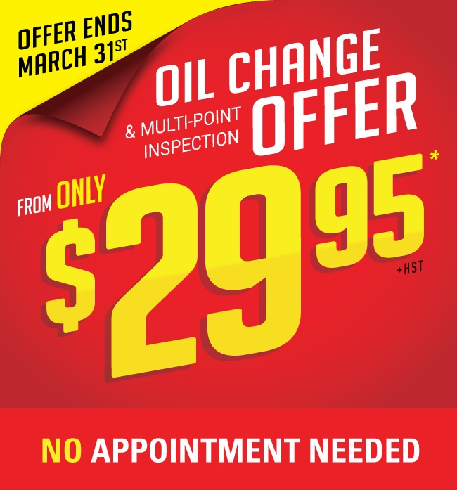 Get express oil change + multi-point inspection from only $29.95 in Mississauga. No Appointment Necessary. Limited Time Only.